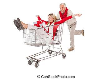 fête, couple, salir, dans, chariot achats