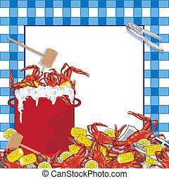 fête, crabe, bouillir, invitation