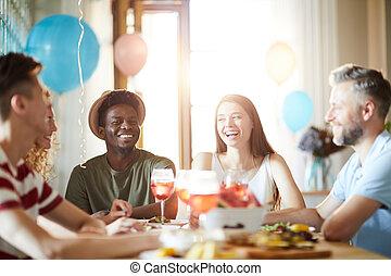 fête, dîner, apprécier, amis