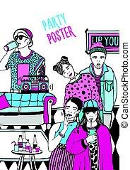 fête, danse, illustration., coloré, gens, jeune, main, affiche, dessiné, poster., alternative, music., boire