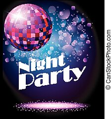 fête, disco, étincelant, ball., nuit