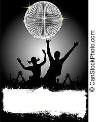 fête, disco, affiche, -