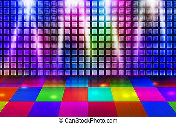 fête, disco, fond, étape