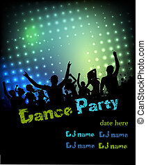 fête, disco, fond, affiche