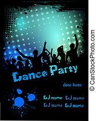 fête, disco, grunge, fond, affiche
