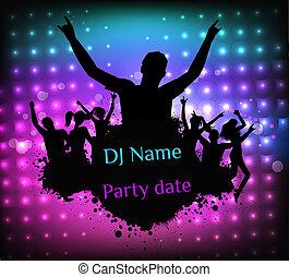 fête, disco, grunge, gabarit, affiche