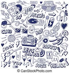 fête, -, doodles, musique