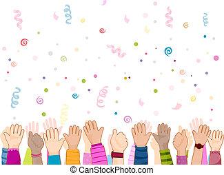 fête, enfants, mains