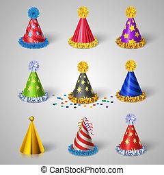 fête, ensemble, chapeau, icônes