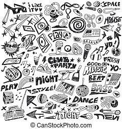 fête, ensemble, -, doodles, musique