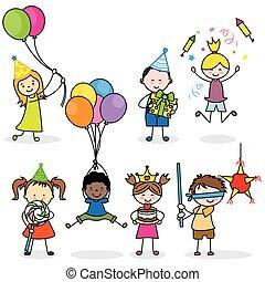 fête, ensemble, enfants