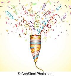 fête, exploser, popper, confetti.