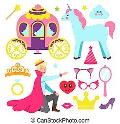fête, fée, accessoires, princesse, prince