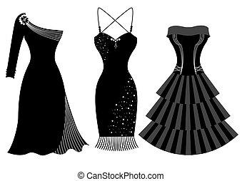 fête, femme, mode, robes