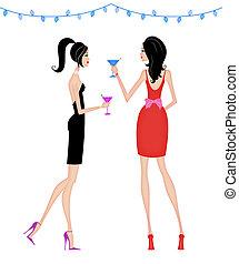 fête, femmes, cocktail, élégant