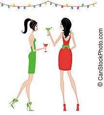 fête, femmes, noël, élégant