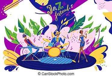 fête, festival, performance, dessin animé, interprètes, âme, exposition, jouer, illustration, plat, musicien, jazz, vecteur, bande, musical, musique