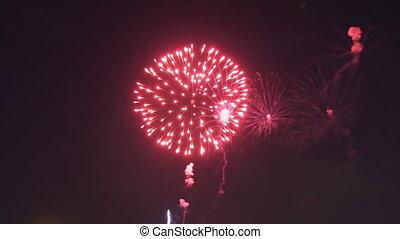 fête, feux artifice, années, vacances, exploser, fantastique...