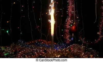 fête, feux artifice, sparklers., années, arrière-plan., ...