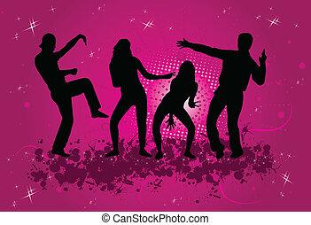 fête, fond, grunge, -