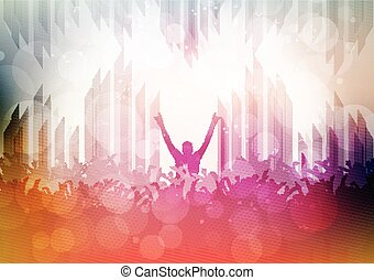 fête, foule, à, lumières