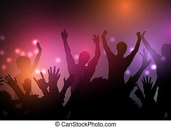 fête, foule, 1103, lumières, fond