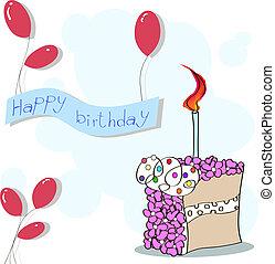 fête, gâteau, balloons., bannière, heureux, card., anniversaire