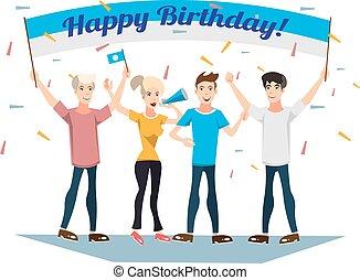 fête, gens., anniversaire, jeune, heureux