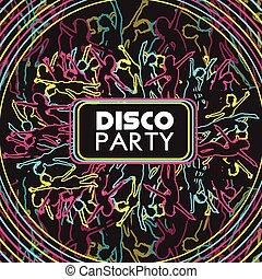 fête, gens, danse, foule, disco