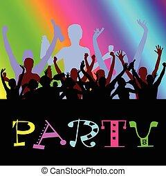 fête, gens, danse, vecteur