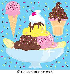 fête, glace, sundae, crème