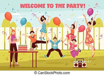 fête, gosses, composition, b-day