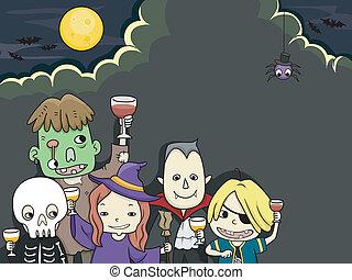 fête, gosses, halloween