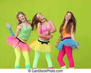 fête, gosses, heureux, danse