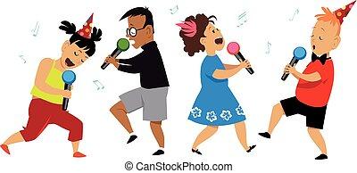 fête, gosses, karaoke