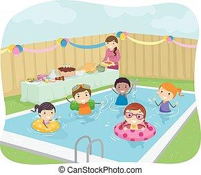 fête, gosses, stickman, piscine