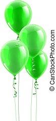 fête, graphique, vert, ballons