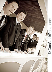 fête, groomsmen, mariage