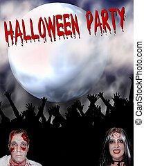 fête, halloween, affiche