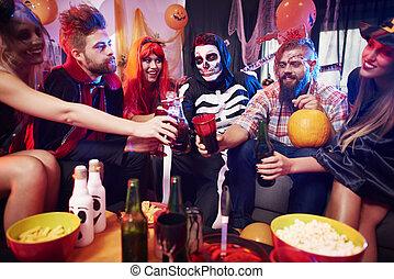 fête, halloween, alcool, boissons