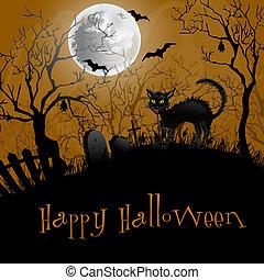 fête, halloween, arrière-plan.