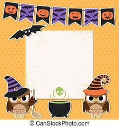 fête, halloween, carte