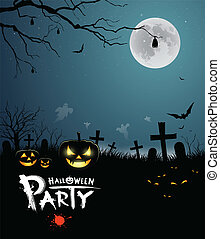 fête, halloween, conception, effrayant
