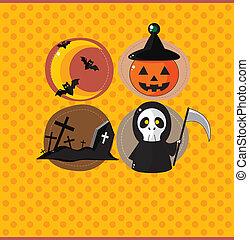 fête, halloween, dessin animé, carte