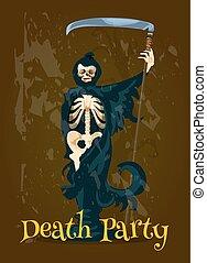 fête, halloween, mort, bannière