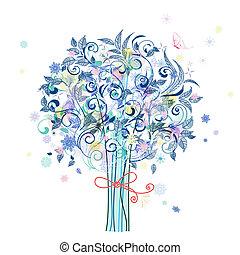 fête, hiver, décoratif, arbre