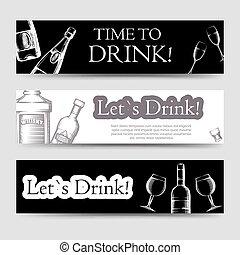 fête, horizontal, boisson, ensemble, bannières