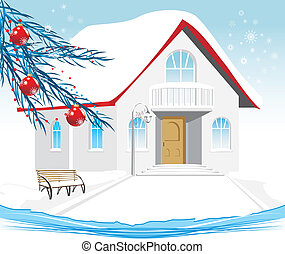 fête, house., composition, hiver