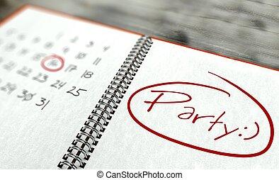 fête, important, jour, calendrier, concept