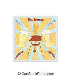 fête, invitation, barbecue